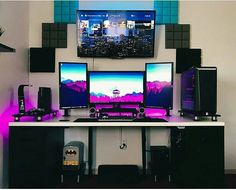 60 Best Setup of Video Game Room Ideas [A Gamer's Guide] Computer Gaming Room, Gaming Room Setup, Computer Setup, Pc Setup, Desk Setup, Gaming Rooms, Pc Desk, Computer Build, Gamer Room