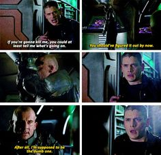 """""""After all, I'm supposed to be the dumb one"""" - Mick and Leonard #LegendsOfTomorrow ((I knew it! I knew he wasn't dead! But wow, that was a big surprise)"""