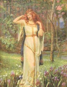 Freya and the Necklace . Freya goddess of love, beauty, gold, fertility, war . Norse mythology J Doyle Penrose Norse Goddess Of Love, Celtic Goddess, Earth Goddess, Celtic Mythology, Goddess Art, German Mythology, Symbole Viking, Mother Goddess, Sacred Feminine