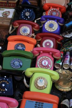"assorted styles of telephone (I miss these, they didn't give you brain cancer and when you wanted to be left alone you could take the receiver off the hook unlike now when you are expected to be reachable at ALL times so it is no longer possible to really ""get away"" for awhile)"