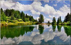 Dolomiti - riflessi in un laghetto  vicino  al Passo San Pellegrino