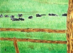 Cows in Field (Painting),  12x9 in by Suzanne Berton Cows in Field uses ink on watercolor paper  Thank you Valerie K Ploughman for photos!