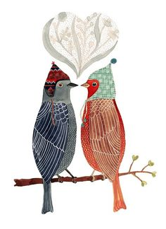Two love birds sittinon a branch, how lovely