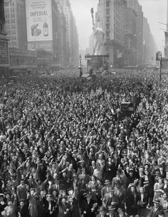 Crowd in Times Square celebrating the surrender of Germany, May 7th, 1945