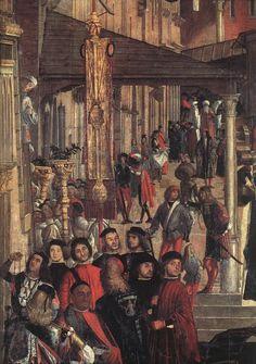 c.1496.Vittore CARPACCIO,The Healing of the Madman.Tempera on canvas,365x 389 cm Gallerie dell'Accademia,Venice.
