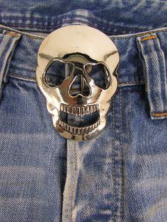 New Men Women Belt Buckle Fashion Cowboy 3D Skull Silver Metal Theeth Geometric