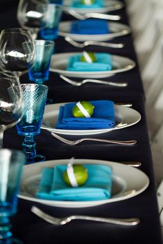 Blue Wedding Inspiration | Table setting