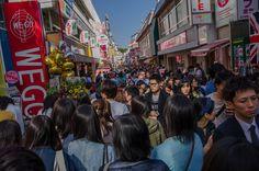 Crowds in Takeshita Dori Harajuku Tokyo
