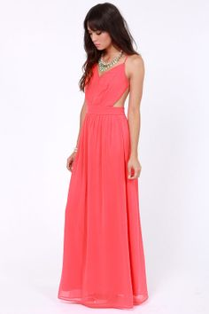 LULUS Exclusive Rooftop Garden Backless Coral Maxi Dress at LuLus.com! 49.00