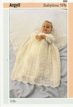Vintage knitting pattern  christening dress  3 ply yarn 14 - 18 sizes  PDF Instant download