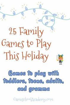 These 25 games are perfect for those spending the holidays at home or with their bubbles. I've also added some ways to expand on the games educationally. ❄⛄☕ Family Games To Play, Games To Play With Kids, Board Games For Kids, Kids Fun, Holiday Activities For Kids, Holiday Games, Fun Activities, Kindergarten Homeschool Curriculum, Homeschooling