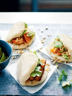 This version of the light steamed buns commonly – and erroneously – known as just 'bao' are not quite authentic due to the lack of meat, so Alice Hart has thrown caution to the wind with this recipe from The New Vegetarian and used an unami-rich stuffing of roast pumpkin. They're soft, fluffy, flavoursome and delicious – you just have to try them.
