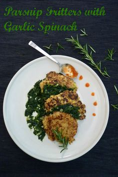 We have had the biggest - and I mean BIGGEST parsnip crop this year. These parsnip fritter pancakes with a garlicky spinach sauce are just such a good way to use them up. #pancakes #fritters #vegan #recipe