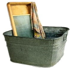 Washing clothes by hand can be made simpler by having the correct tools. A plunger, washboard, wringer, wash tubes, clothes line and clothes pins. Washing Clothes By Hand, Wash Tubs, Vintage Laundry, Doing Laundry, Laundry Room, Laundry Detergent, Homemaking, Frugal, Just In Case