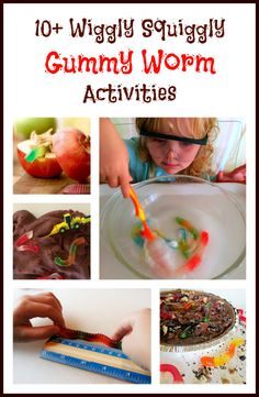 Tons of fun ways to learn and play with gummy worms: math, science, crafts, snacks, homemade gummies and more!