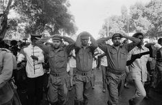 The 1977-1978 Ogaden War Original caption: A large rally in support of General Siad Barre is headed by three Somalians dressed as Cuban prisoners in reference to Cuba's support for Ethiopia's claims over the disputed Ogaden region.