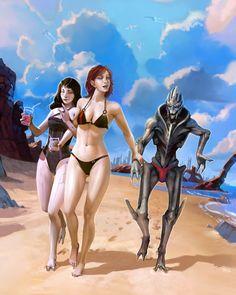 Team Shepard Goes To The Beach by OchreJelly.devian... on @deviantART