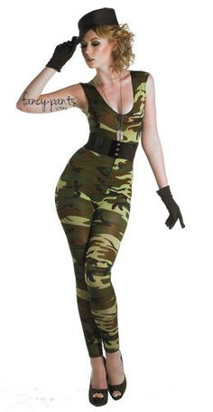 ladies new sexy army girl soldier fancy dress costume outfit halloween jumpsuit - Soldier Girl Halloween Costume