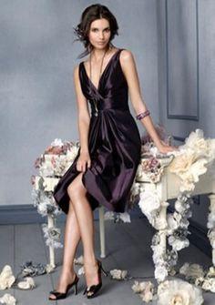 A-line V-neck Knee-length Satin Evening Dress. black. dark grey. purple.