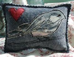 felt craft; chickadee heart cushion
