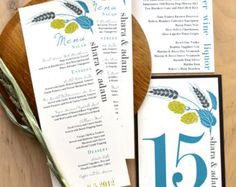 Gold Wedding Menu Cards Personalized Place Cards by BeaconLane
