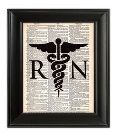 CADUCEUS Nurse RN Nursing Medical Medicine Illustration Art Print Poster on Upcycled Antique 1930s Dictionary Book Page 8x10 on Etsy, $9.00