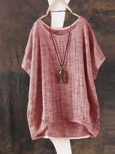 2aaa5e15115314 Batwing Sleeve Loose Plus Size Blouse Cotton Linen Casual O Neck Womens  Blouses Tops Vintage Summer Solid Ladies Blusas