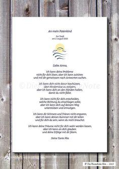 Weiteres - Patenbrief zur Taufe/Kommunion/Namensgebung, ... - ein Designerstück von DiePersoenlicheNote bei DaWanda