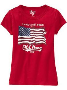 """Get ready to celebrate July 4th with this patriotic t-shirt from Old Navy.  Wow, was it hard to find a July 4th themed girls t-shirt """"without the girly."""" Really hard! Crazy hard! As in """"I looked EVERYWHERE and they all had sparkles or hearts or pink"""" hard. I did manage to find two others (which also pinned), but that was it. Beyond that, you'd have to raid the boys department."""
