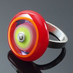 Large Circle Ring in Lime Lavender and by kpglassjewelry on Etsy