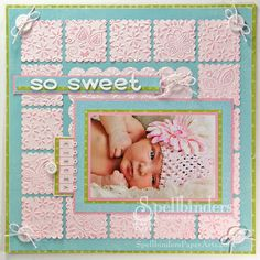 """""""So Sweet"""" Baby Scrapbook Page embossed squares"""