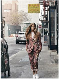 RELAXED SUITING: Nina poses in printed pantsuit from Gucci