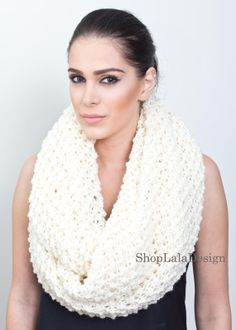 Hand knitted Infinity Scarf by ShopLalaDesigns on Etsy
