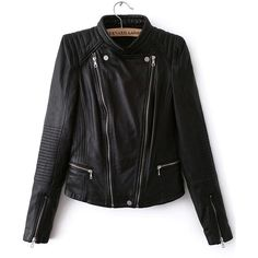 Stand Collar Oblique Zipper Crop Jacket (75 BAM) ❤ liked on Polyvore featuring outerwear, jackets, coats, romwe, casacos, black, bomber jacket, black zipper jacket, black pleather jacket and cropped bomber jacket