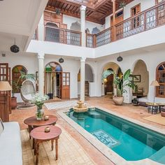 Our favourite best budget riads in Marrackech - without sacrificing luxury, beauty or style! If you want to stay in a affordable or cheap riad in Marrakech, here are the best options. Best Riads In Marrakech, Riad Marrakech, Living Pool, Internal Courtyard, Beautiful Hotels, Beautiful Villas, Spanish Style Homes, Courtyard House, Mediterranean Homes