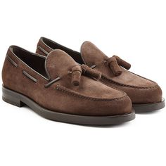 Tod's Suede Loafers (3,410 HKD) ❤ liked on Polyvore featuring shoes, loafers, brown, suede loafers, brown tassel loafers, small heel shoes, brown suede loafers and brown suede shoes