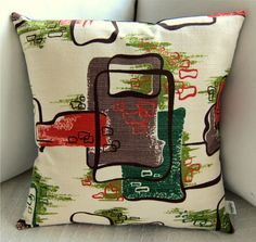 Vintage Barkcloth Retro Pillow Cover -- Avocado and Coral on Vanilla - CARAVAN Pattern -- Eames Era -- for x insert Pillow Forms, Pillow Inserts, Pillow Covers, Retro Graphic Design, Vintage Pillows, Surface Pattern, Eames, Caravan, Ps