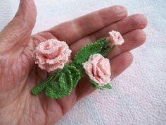 Beaded brooch. Mini rose brooch. Seed bead rose by MilenasBoutique