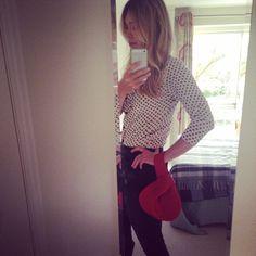 Cute, right? xx, Bija #Bija #bijabags #wristie #handbags #fashion #readyfortheday #whatimwearing #outfit #highwaistjeans #gettingdressed #red #redbag #london