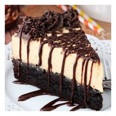 Pumpkin Chocolate Brownie Cheesecake foodgawker ❤ liked on Polyvore featuring food