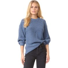 TSE Cashmere x Claudia Schiffer Long Sleeve Pullover ($425) ❤ liked on Polyvore featuring tops, sweaters, denim, blue top, pointelle sweater, raglan sweater, pullover sweater and long sleeve pullover sweater