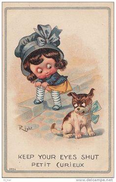 """Belle CPA Illustrateur Signé RIGHT Fillette Pudique Ajustant Ses Bas Et Son Chien """" Petit Curieux ! """""""