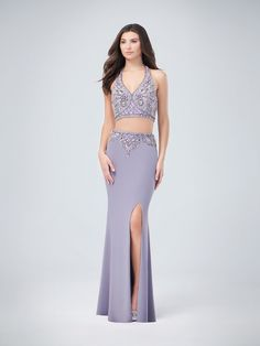 Val Stefani | Style 3224RY | Two-Piece Halter Neck Jersey Sheath with Front Slit Prom Dress