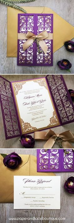 Wedding Program ALYSSA - Gold and Plum Laser Cut Wedding Invitation - Purple Shimmer Laser Cut Gatefold Doors w/ Gold Ribbon and Bronze Key Laser Cut Wedding Invitations, Wedding Invitation Cards, Wedding Stationery, Wedding Cards, Our Wedding, Dream Wedding, Debut Invitation, Lace Invitations, Trendy Wedding