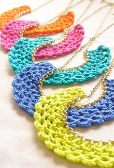 Color Pop Crocheted Bib Necklaces by NikitaAccessories on Etsy