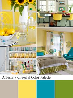 Color Combination With Yellow Wall In Yellow Kitchen Storages - Kitchen Decor Kitchen Colour Schemes, Room Color Schemes, Bright Kitchen Colors, Bright Bedroom Colors, Bright Colors, Yellow Walls, Bedroom Yellow, Green Bedrooms, Cottage Bedrooms