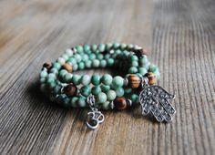 108 mala bracelet hamsa bracelet wrist mala  by IskraCreations