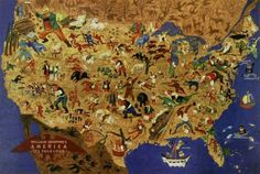 William Gropper's America, its folklore. Shows characters and names or titles from American folklore on a map of the United States. Literary Heroes, Pictorial Maps, United States Map, States America, North America, Tall Tales, Vintage Maps, Plans, American Artists
