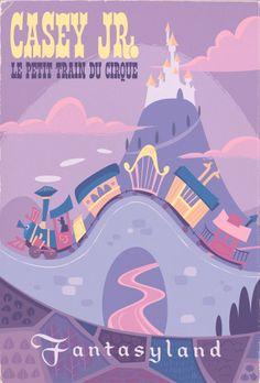 Poster promoting the Casey Jr ride at Disneyland (Anaheim, California) Disneyland Paris, Disneyland Vintage, Vintage Disney Posters, Retro Disney, Vintage Mickey, Walt Disney World, Disney Nerd, Disney Love, Disney Parks