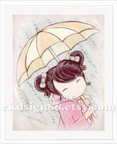 Rainy day girl room decor baby girl nursery decor by rkdsign88